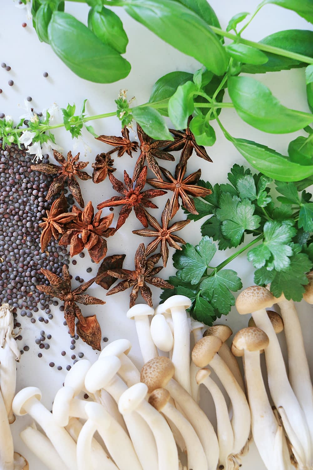 Beech mushrooms spices and herbs