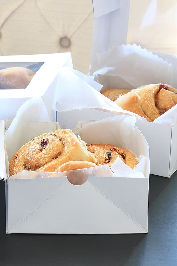 sweet rolls in pastry boxes